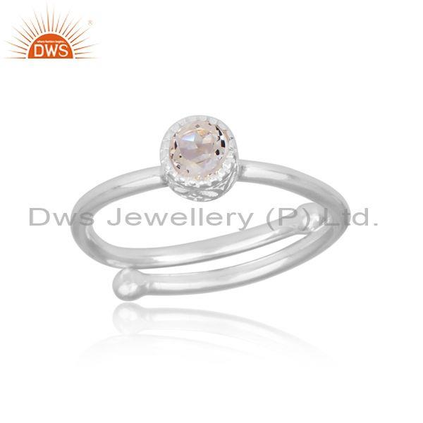 Round cut crystal quartz set fine 925 silver handmade ring