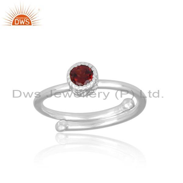 Round cut garnet set fine 925 sterling silver handmade ring