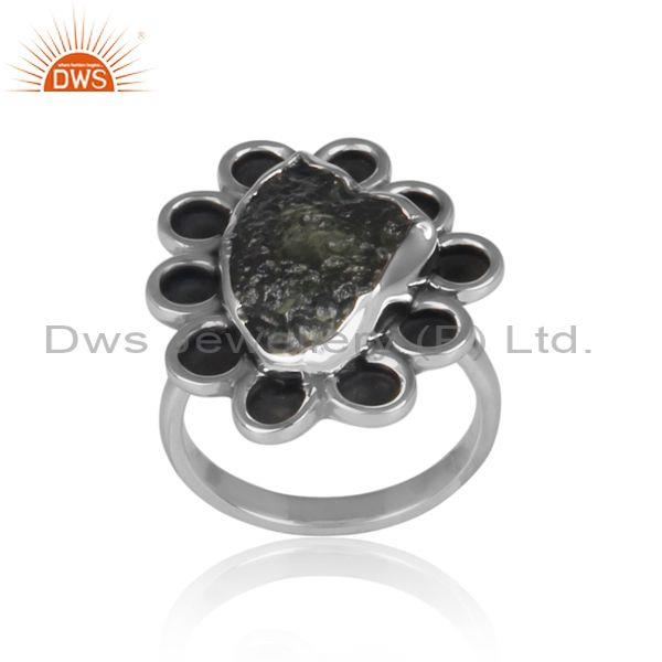 Handmade moldavite set oxidized 925 silver abstract ring
