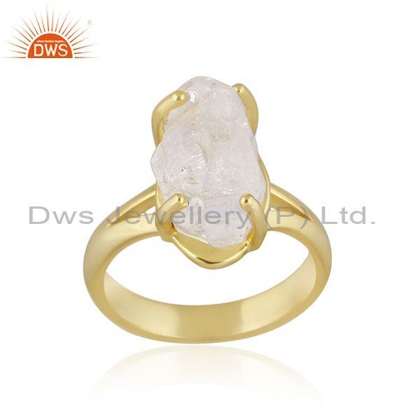 Rough cut herkimer diamond gold on sterling silver ring
