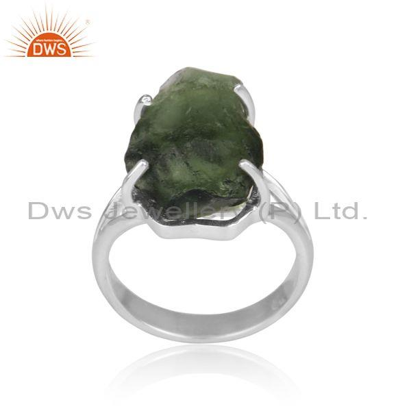 Moldavite set fine sterling silver handmade abstract ring