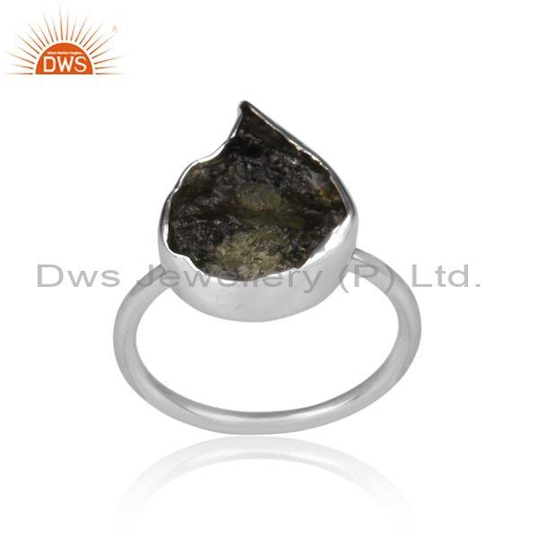 Abstract cut moldavite set fine sterling silver classic ring