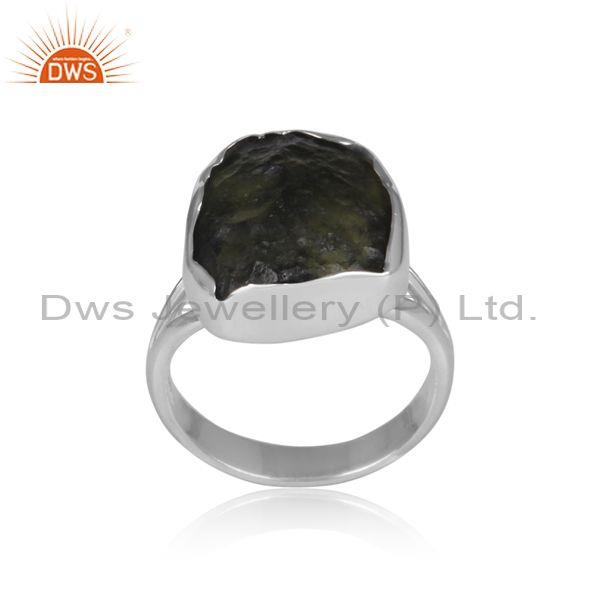 Moldavite set fine 925 sterling silver casual statement ring