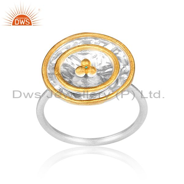Gold On Fine Sterling Silver Round Handmade Charm Set Ring