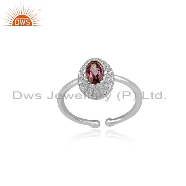 Pink Topaz Set Fine 925 Sterling Silver Oval Handmade Ring