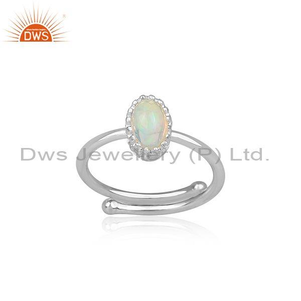 Ethiopian Opal Set Fine 925 Sterling Silver Oval Crown Ring