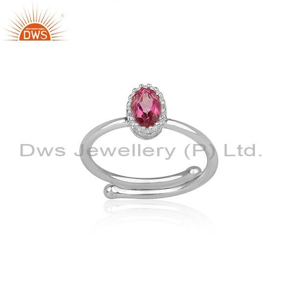 Pink Topaz Set Fine 925 Sterling Silver Oval Cut Crown Ring