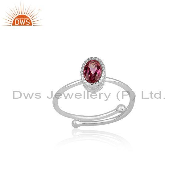 Oval Cut Pink Topaz Set Fine Sterling Silver Classic Ring