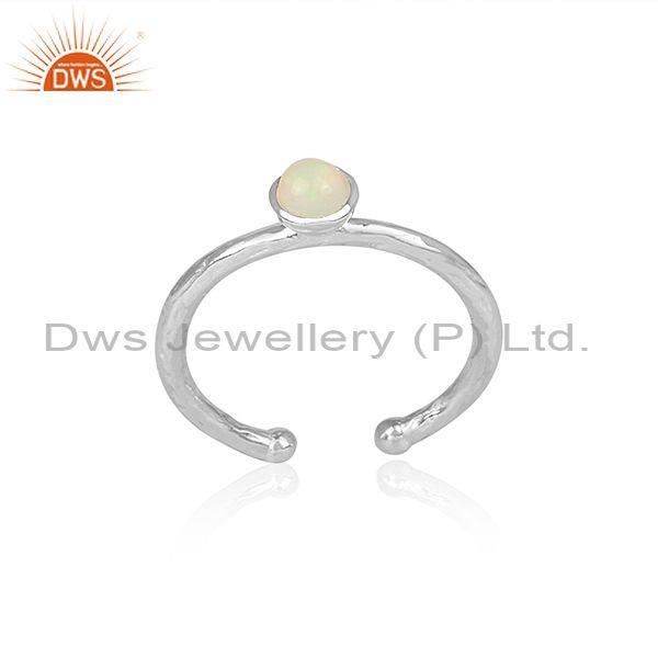 Handmade And Handhammered Ethiopian Opal Fine Silver Ring