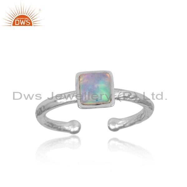 Square cut ethiopian opal fine 925 sterling silver ring