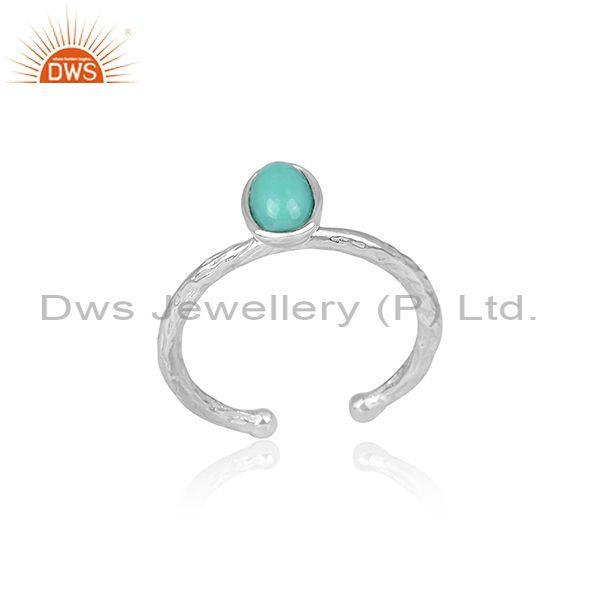 Oval Cut Arizona Turquoise Handhammered Fine 925 Silver Ring