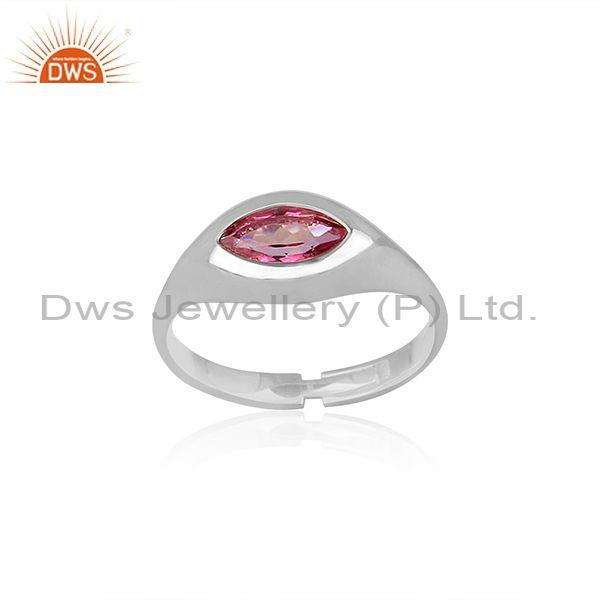 Pink Topaz Set Fine 925 Sterling Silver Abstract Fancy Ring