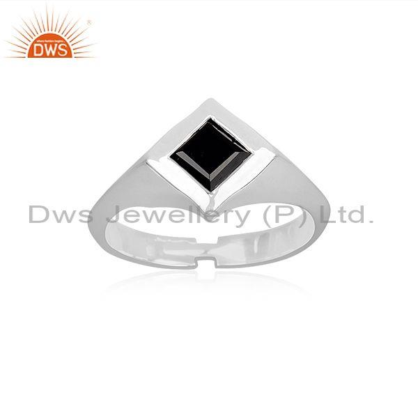 Rhombus Black Spinal Set Fine Sterling Silver Handmade Ring