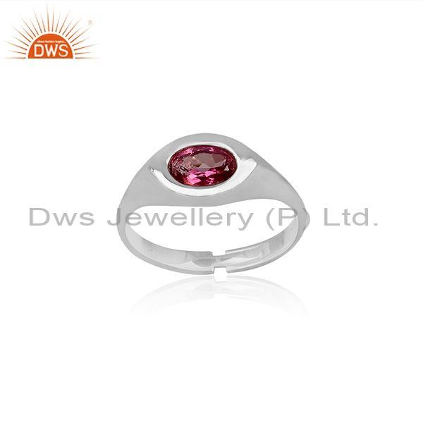 Pink Topaz Set Fine Sterling Silver Eye Shaped Classic Ring