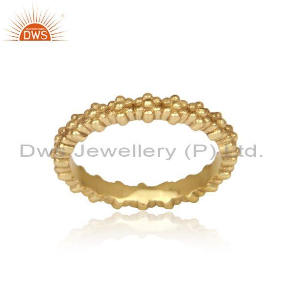 classical handmade crown shaped brass gold statement ring