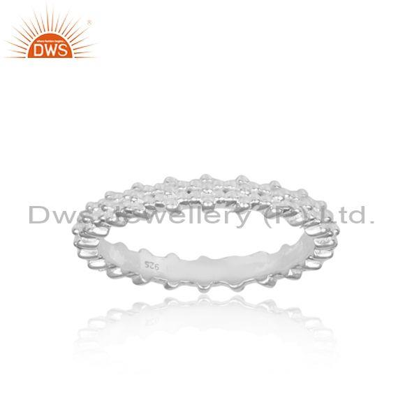 Classical handmade crown shaped fine silver statement ring