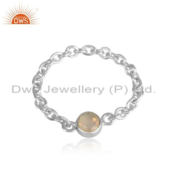 Round Ethiopian Opal Charm Set Fine Silver Chain Ring