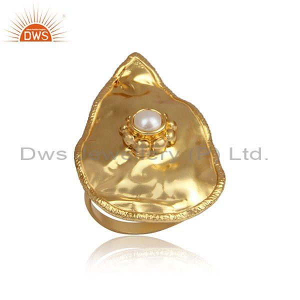 Handmade gold on 925 silver pearl set abstract foil ring