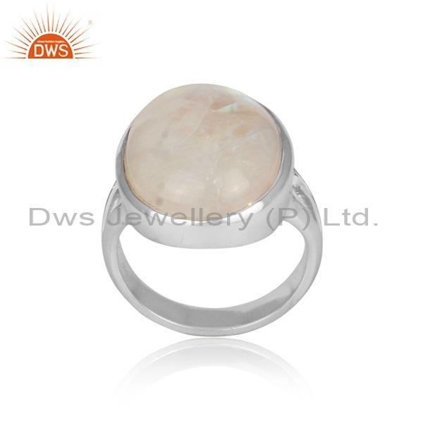 Round rainbow moon stone set fine 925 sterling silver ring