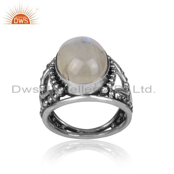 Oval rainbow moon stone set oxidized sterling silver ring