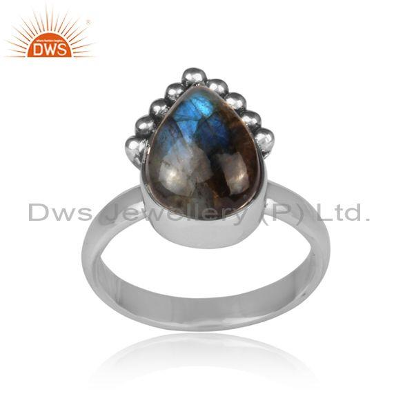 Pear cut labradorite set oxidized silver handmade fancy ring