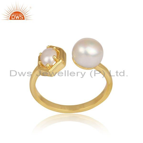 Pearls set gold on 925 silver handmade designer open ring