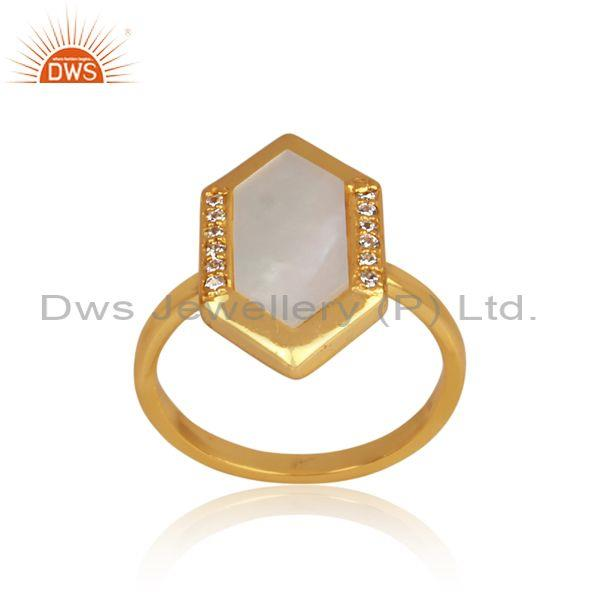 Mother Of Pearl And CZ Set Gold On 925 Silver Hexagonal Ring