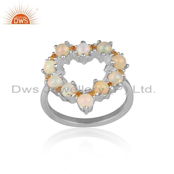 Citrine And Ethiopian Opal Set Fine Silver Heart Shaped Ring