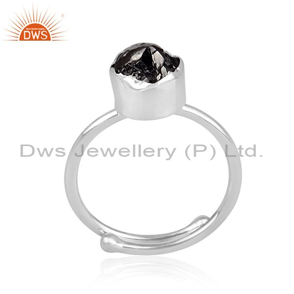 Rough Cut Black Diamond Set Fine 925 Silver Statement Ring