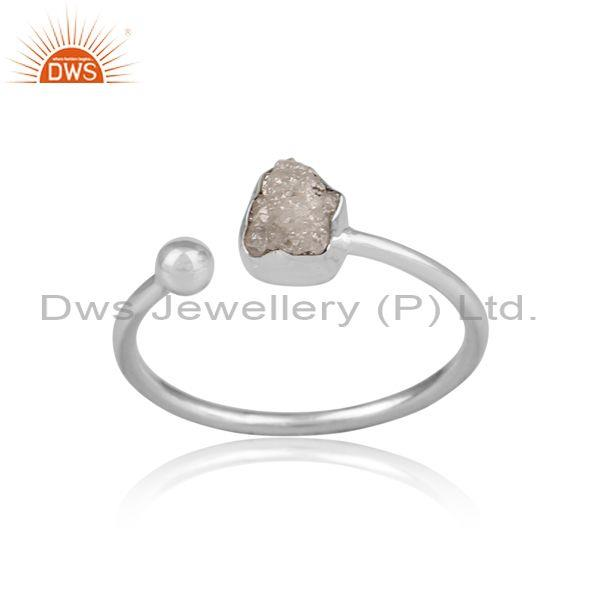 Rough Cut Diamond Set Fine 925 Silver Handmade Open Ring