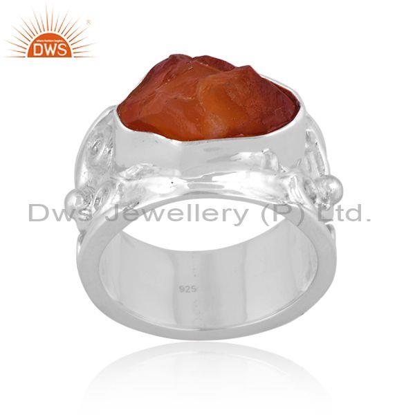 Rough cut carnelian set fine sterling silver band type ring