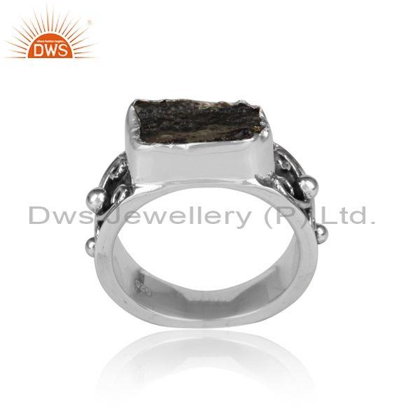 Rectangle Rough Cut Moldavite Set Fine Silver Designer Ring