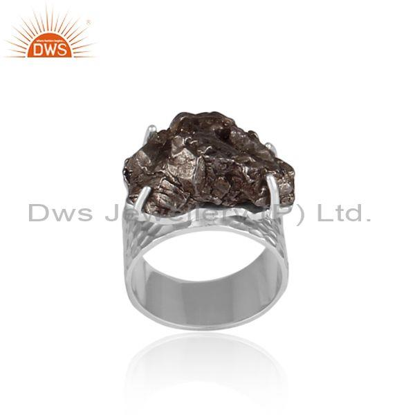 Meteorite Set Fine Sterling Silver Handmade Band Style Ring