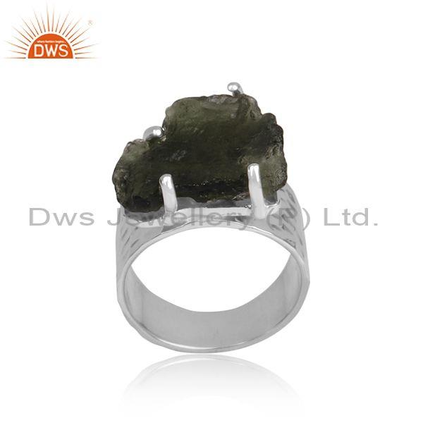 Rough Cut Moldavite Set Fine Sterling Silver Designer Ring