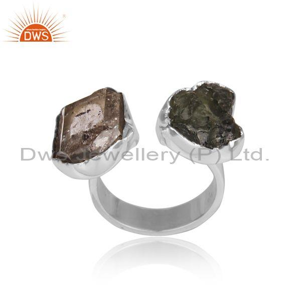 Herkimer Diamond And Moldavite Set Oxidized Silver Ring