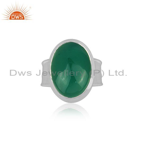 Oval Cut Green Onyx Set Fine Sterling Silver Handmade Ring