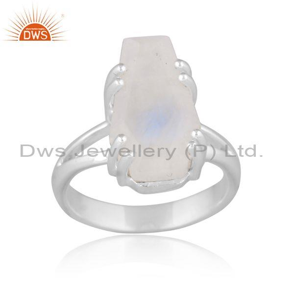 Rainbow moon stone set fine 925 sterling silver classic ring