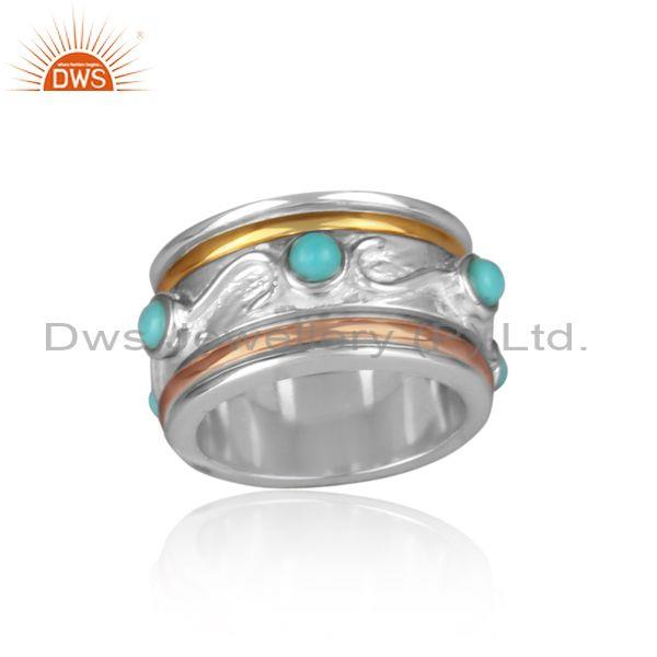 Arizona Turquoise Set Gold, White, Rose Gold On Silver Ring