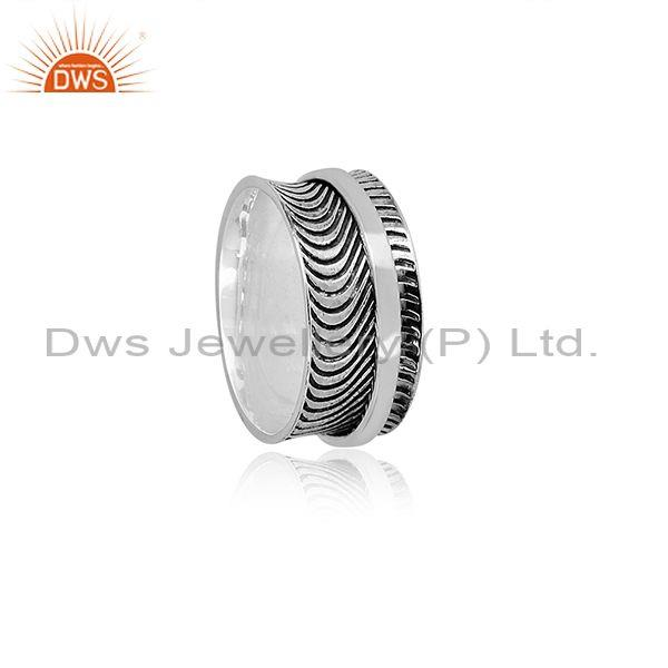 Oxidized Silver Handmade Classy Designer Curved Pattern Ring