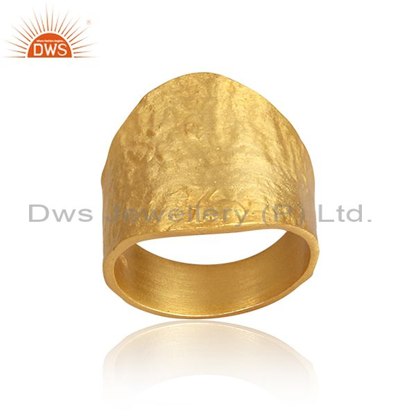 Handmade And Handhammered Gold On 925 Silver Band Type Ring