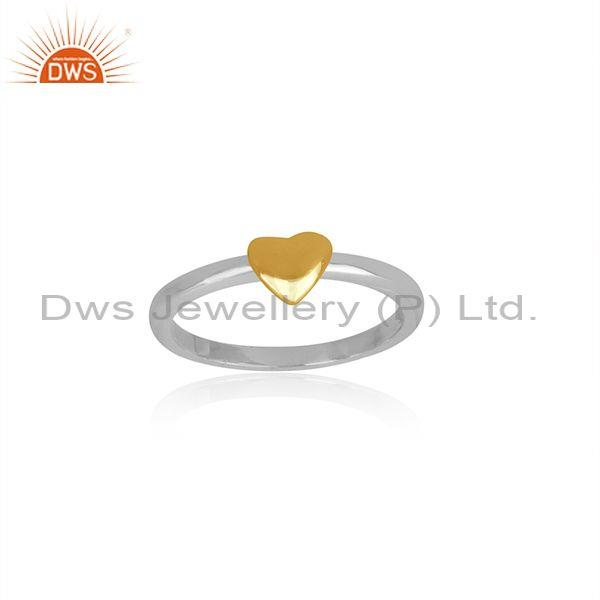 Heart charm set fine sterling silver band style classic ring