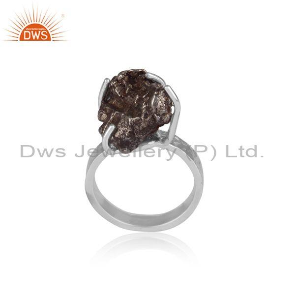 Meteorite set fine sterling silver classic statement ring