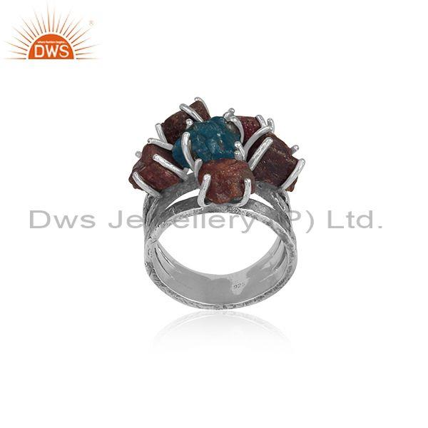 Neon Apatite And Ruby Studded Oxidized 925 Silver Band Ring