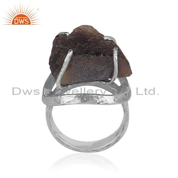 Columbianite set oxidized 925 silver designer abstract ring