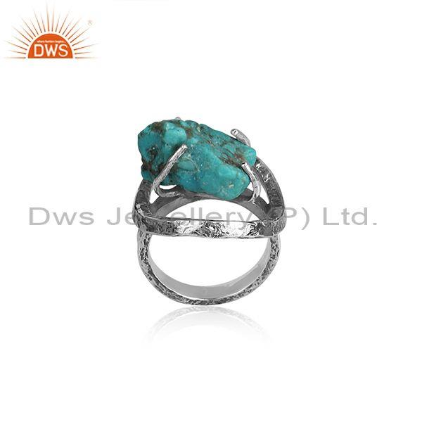 Arizona Turquoise Set Oxidized Silver Abstract Designer Ring