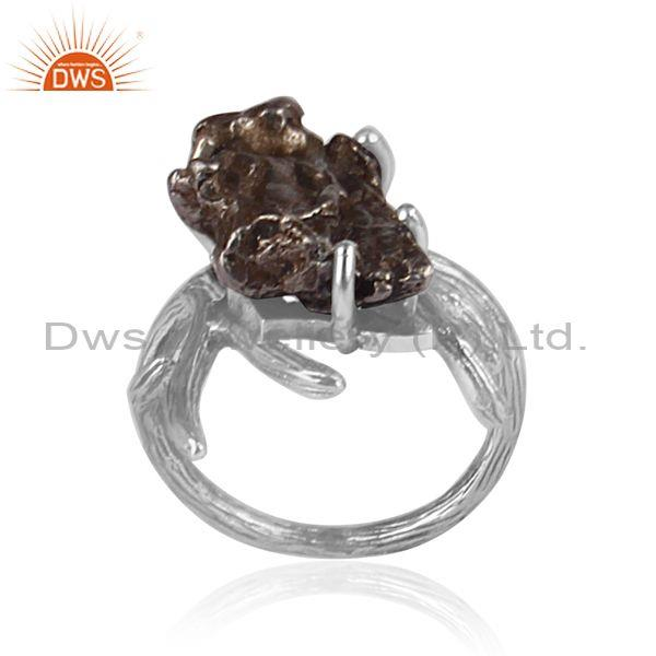 Meteorite set oxidized 925 silver abstract designer ring