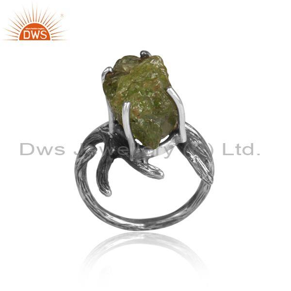 Peridot Set Oxidized Sterling Silver Abstract Designer Ring