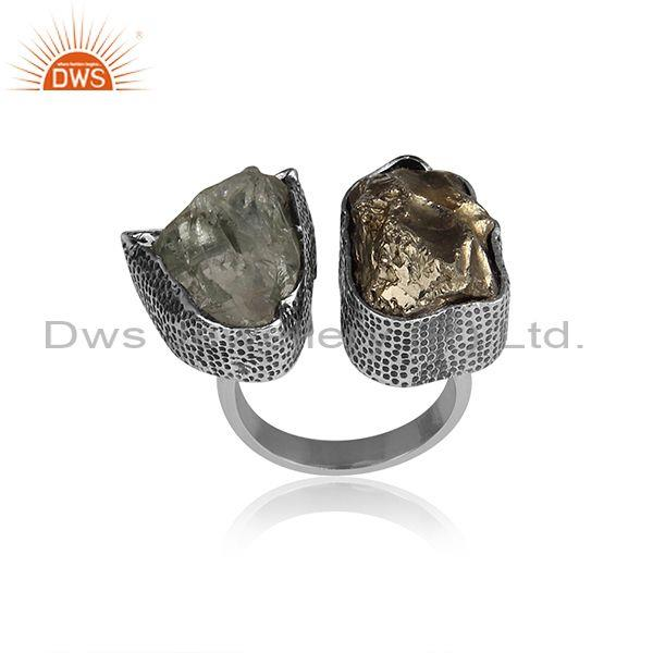 Rough Cut Green Amethyst And Pyrite Set Oxidized Silver Ring