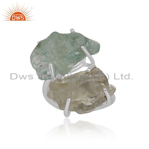 Aquamarine And Green Amethyst Set Fine Silver Designer Ring