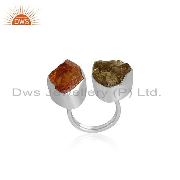 Citrine And Peridot Set Fine 925 Sterling Silver Open Ring